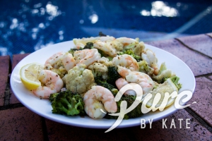 Roast Prawn with Broccoli and Cauliflower